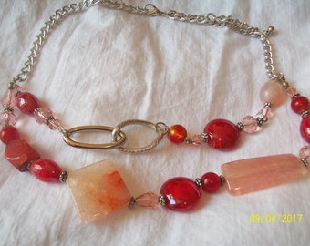 Pearl Necklace swarouski and other red and pink on silver chain