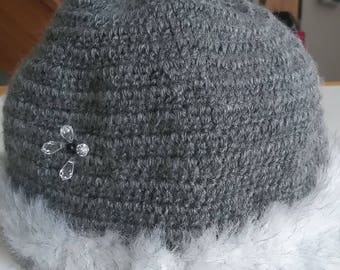 Gray crochet edge effect mink yarn Hat