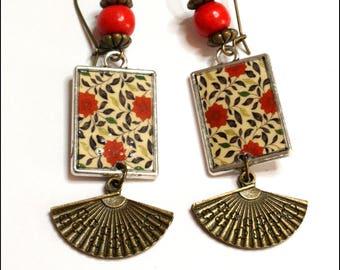 Asian flower motif earrings