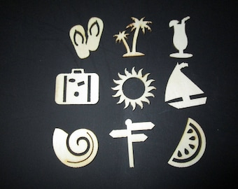 set of 9 wooden shapes Beach figures