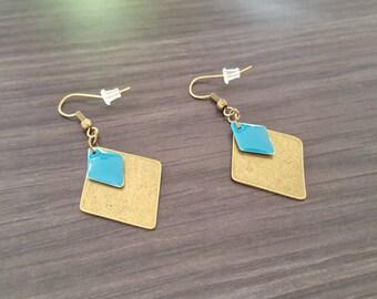Large Turquoise diamond Earrings