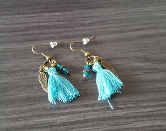 Earrings tassel winged Turquoise