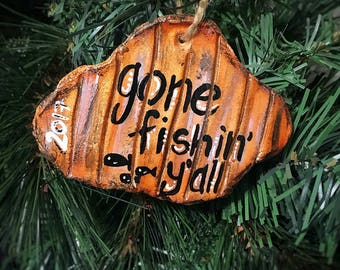 Handmade Clay Gone Fishin' Y'all Sign Ornament