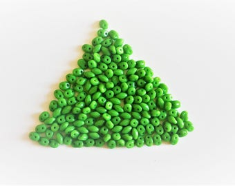 bag of 10 grams seed beads, green, twin beads
