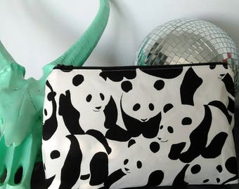 Pouch / clutch black and white panda