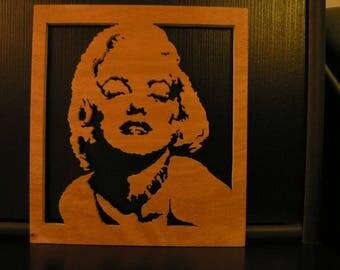 Portrait wood fretwork marilyn monroe