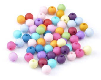 20 mixed acrylic round beads spacer 8 mm