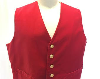 4XL - Red Velveteen Vest