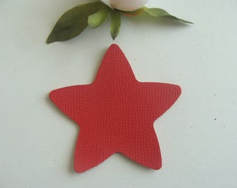 leather red color 8 cm diameter star applique