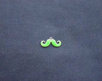 1 charm mustache silver enameled green intense