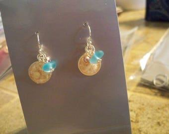 Pink Bermuda Sand Earrings PS14 Blue Seaglass and Pink Swarvoski Pearl