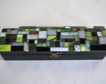 "Box - Pencil box ""Tea and coffee"" rectangular green and black."