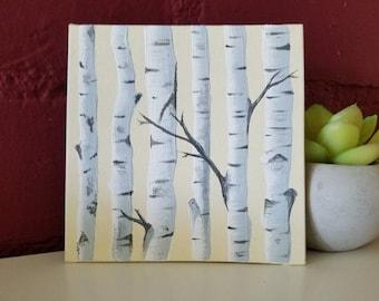 Birch Tree Painting, 4x4, White Birch painting, white trees