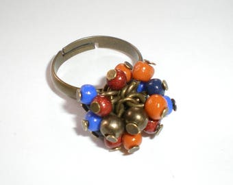 Ring multicoloured cluster in shades of autumn