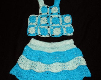 Knitted cotton baby set size 5 months