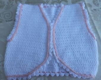Pink White crochet trim sleeveless Bolero