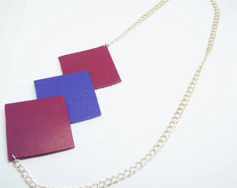 """Necklace """"the square 3"""" red and blue leather"""