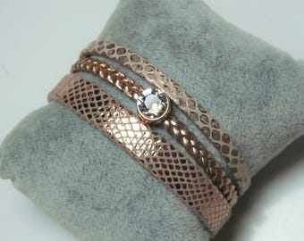 Pink snake and gold braid leather cuff with swarovski 8mm