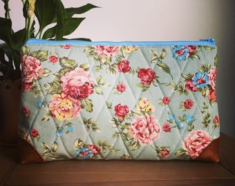 Large Quilted Floral Accessory Case