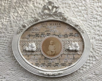Frame romantic retro Ave Maria: sheet music, lace, vintage photography and Angels