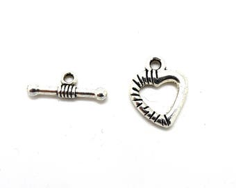 Lot 5 toogle silver heart clasps