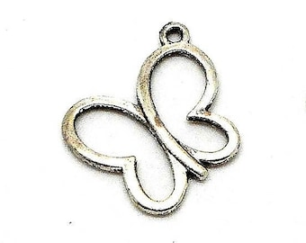 Outline color Butterfly silver charm