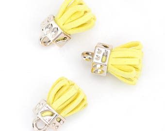 10 charms golden yellow suede tassel - 25mm.