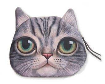 Large wallet gray tabby cat head