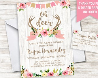 Deer Baby Shower Invite Girls Pink Rustic Invitation 5x7 Digital Oh Deer Antlers Floral Watercolor Girls