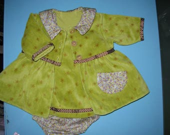 Set 3 PCs lime Terry velour and cotton flowers 3 months