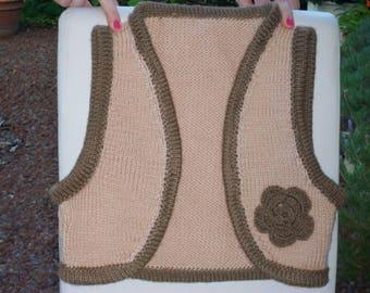 Two-tone acrylic hand knitted short bolero jacket