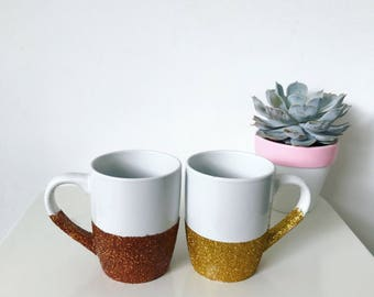 Metallic Glitter Dipped Coffee Mug // office accessory // special gift