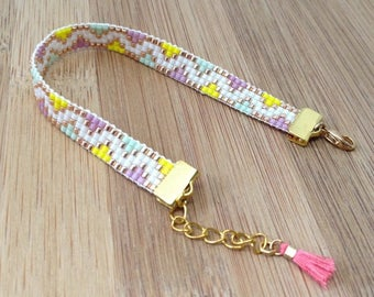 Woven beads purple, green, pink