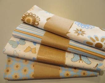 four coupons 50 x 50 cm, beige and sky blue 100% cotton fabric
