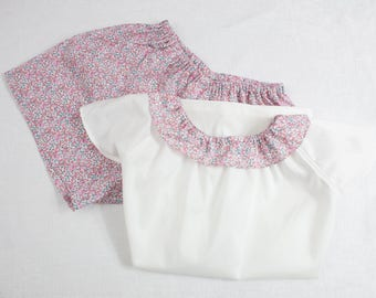 Pajamas with a ruffle Liberty collar for little girls - short sleeves - 100% cotton Lawn Batiste