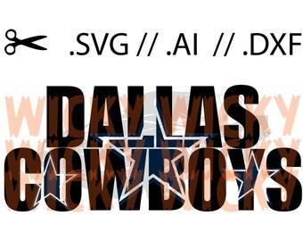 Dallas Cowboys Knockout SVG // AI // DXF. Layered Vinyl cut file