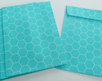 10 envelopes geometric pattern green and white 11.4X16.2 rectangular 9 cm