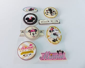 8 beautiful Minnie Disney stickers 3D embossed card stock with Rhinestones
