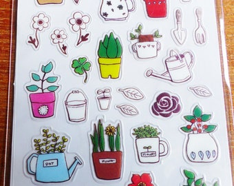 Basil thyme plant watering can gardening stickers herbs