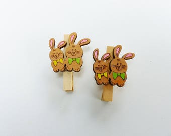6 mini clothespins wooden with couple of rabbits