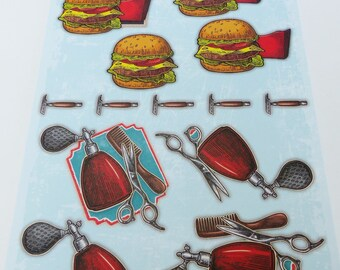 A4 image precut to assemble a Burger, fries and needed hair 3D effect masculine man