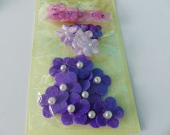 30 mini flower purple with pearls and shiny