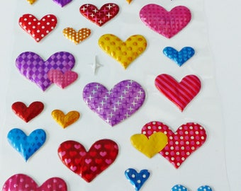 heart stickers metallic raised domed puffy stickers 3D pop-up