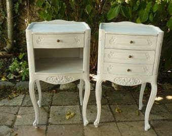 Pair of nightstands Louis XV painted off-white weathered and taupe