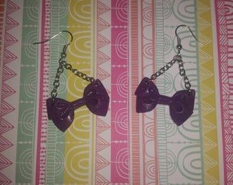Purple bow with polymer clay earrings