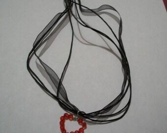 Heart pendant and black organza cord