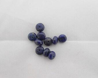 Genuine lapis lazuli 8 x 5 mm rondelle shaped bead. (9075371)