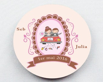 10 badges round Just Married personalized with your names and wedding date D56mm