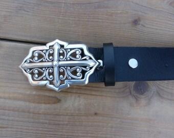 Black leather, width 40 mm, fancy buckle belt