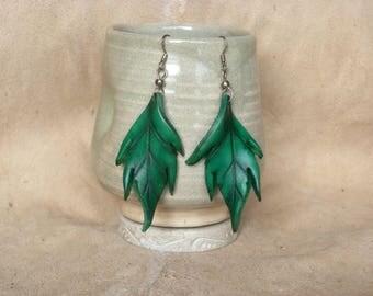 Large green leaf leather earrings